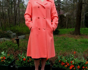 Mango Peach Pink Vintage Spring lined 6 Button Coat 60s Pea Coat Easter