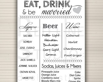 Items similar to wedding sign drink bar menu for Wedding drink menu template free