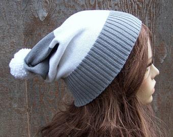 Slouch beanie grey & white stripe recycled sweater hat slouchy pom pom adult handmade Bohemian upcycled one size unisex men women