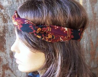 WIRE HEADBAND Festival headband hippie headband dolly bow printed wire tie hippie hair scarf Bohemian Festival headband womens headband