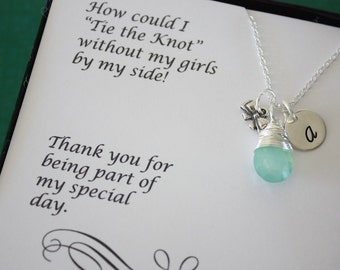 9 Tie the Knot Bridesmaid Gifts, Tie the Knot Necklaces, Bow Charm, Sterling Silver,Tiny Bow, Silver Bow, Initial jewelry, Thank you Card