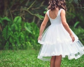 Double Ruffle Tulle Twirl  flower girl Dress, Bohemian Wedding, tulle dress, tulle flower girl, ivory dress