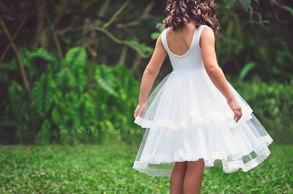 Double Ruffle Tulle Twirl flower girl Dress Bohemian