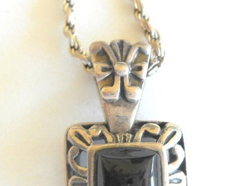 Vintage Necklace Sterling Onyx 24 Inch Signed