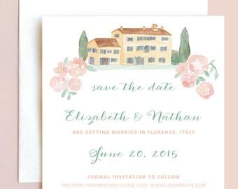 Italian Wedding Save the Date, Watercolor Villa Save the Date, French Country Save the Date, Wedding Save the Date, Watercolor Save the Date