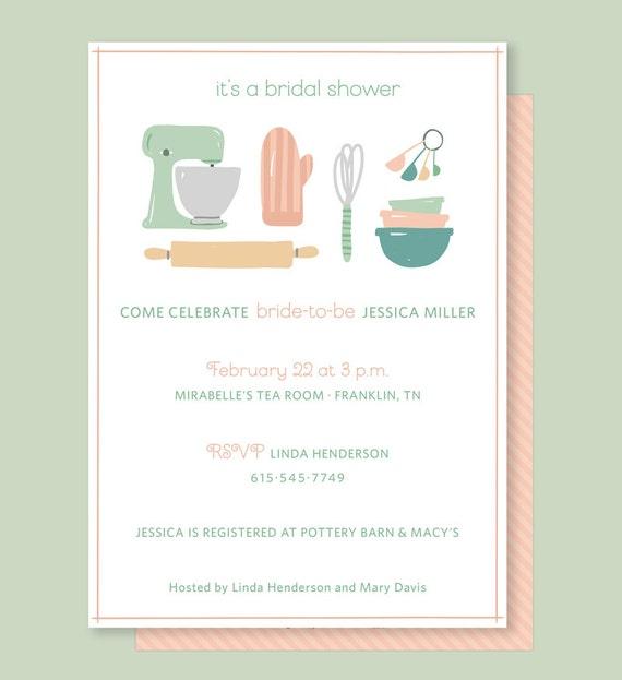 Kitchen Bridal Shower Invitation With Vintage Kitchen Mixer