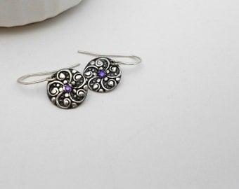 Silver Metal Clay Earrings, PMC Earrings, Gemstone Earrings, Choose Your Color, Sensitive Ears