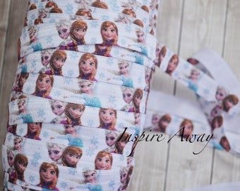 "Frozen Anna & Elsa Princess 5/8"" fold over elastic, Disney Frozen elastic, elastic by the yard, FOE elastic, headband supply."
