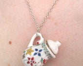 Mini coffee pot necklace in Oriental Summer flower pattern