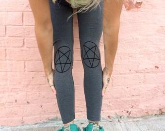 Heather Grey Pentagram Leggings  - O/S