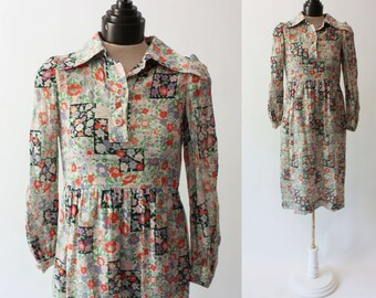 70's Floral Sheer Long Sleeve Dress