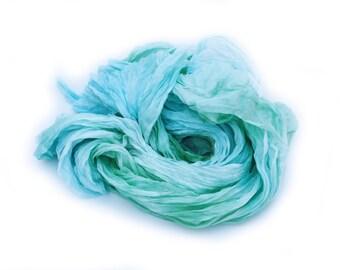 mint silk scarf - Morning Crisp - mint, light green, blue silk ruffled scarf.