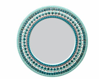 Round Mosaic Mirror, Teal Kitchen or Dining Room Decor,