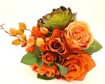 Fall Bouquet - Bridesmaid Bouquet, Small Bouquet, Orange, Coral, Peach, Green, Succulent, Berries, Fall Wedding, Orange Bouquet, Echeveria