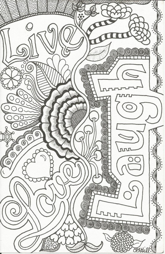 Printable Coloring Pages For Adults Love : Live love laugh doodle by plhill
