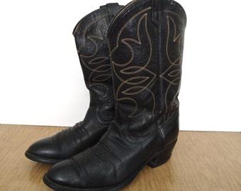 Vintage Western Boots / black leather cowboy boots / US men's 10