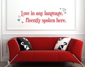 Love in any Language Removable Vinyl Wall Art, multicultural launguages mixed family love wall art wall decal wall sticker valentines day