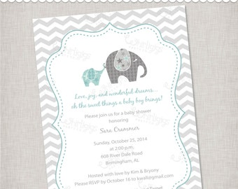 "Elephant Baby Shower Invitation ""Baby of Mine"" - Printable Digital File or Printed Invitations with Envelopes - FREE SHIPPING"