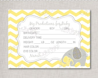 """Predictions For Baby - Printable Baby Shower Cards """"Baby of Mine"""" Elephant Theme -  INSTANT DOWNLOAD"""