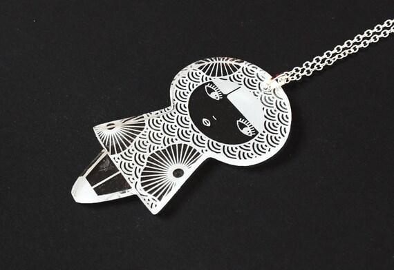 Japanese doll pendant - lasercut clear acrylic - floral pattern - cute matriochka jewelry - kawaii kokeshi jewellery - graphic accessory