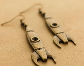 Bronze Rocket Earrings - Vintage Steampunk Scifi Dangle Earrings