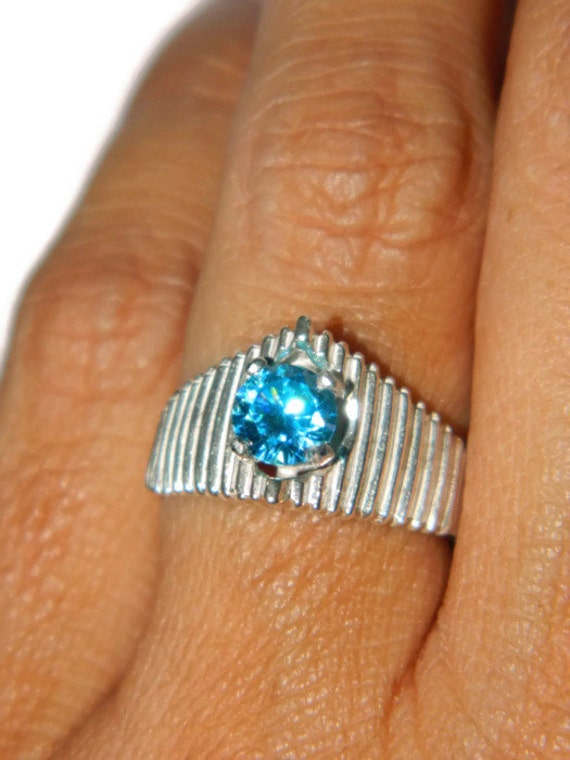 Blue Diamond Ring, Middle Finger Ring,Dinner Ring, Cocktail Ring, Pyramid Ring