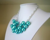 SALE! Chunky Women's Tiffany Blue Pearl Statement Necklace