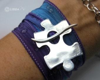 Autism Jewelry ~ Wrap Bracelet, Gift for Her, Autism Puzzle Piece Silver Silk Wrap Bracelet
