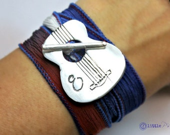 Wrap Bracelet Music Lover  Patriotic Guitar Bracelet Silk Wrap Bracelet Musician's Silk Wrap Bracelet Personalized Music Lover Gift