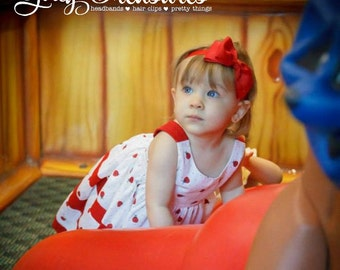 Girl Red Bow Headband. Baby Headband. Newborn Headband. Girl Headband. Photo Prop.