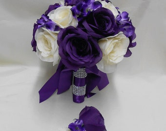 Wedding Bridal Bouquet Your Colors 2 pieces Ivory Purple Rose Purple Hydrangeas with Boutonniere Centerpiece Accessories FREE SHIPPING