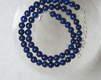 "Classic Dark Navy Blue Riverstone Beaded Necklace with 3"" Extender Chain Silver or Gold Clasp and Chain"