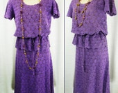 ON SALE -Vtg 1960's – 70's hand knit Purple Cotton Top and Skirt ~Made in Phiippines~