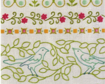 Heather Bailey Embroidery Pattern - Re-usable Iron On Embroidery Pattern - Blooming Borders