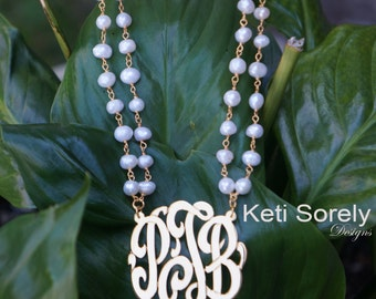 Handmade Double String Pearl Neckalce with Monogram Initials - White Freshwater Pearls - 14K Gold  / Sterling Silver
