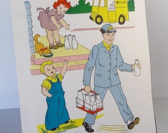 Vintage 1958 Milkman School Poster - Educational Classroom Community Helpers Series  - Hayes School Publishing Co., USA