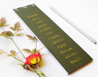 Grocery Shopping List. Food List Jotter. Hand Embroidered Notebook. To Do Notepad. Olive Green Shopping List. To Do List. Green Notepad