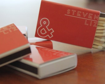 100 Custom Designed Matchbox Wedding Favors