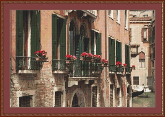 Balconies In Venice Cross Stitch Pattern /Digital PDF Files /Instant downloadable