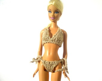Barbie Clothes - Knitted String Bikini for Barbie Made to order