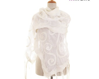 nuno felted artistic shawl scarf, white bride silk felt wool felted wearable scarf  nunofelted shawl, felted wool scarf by inmano