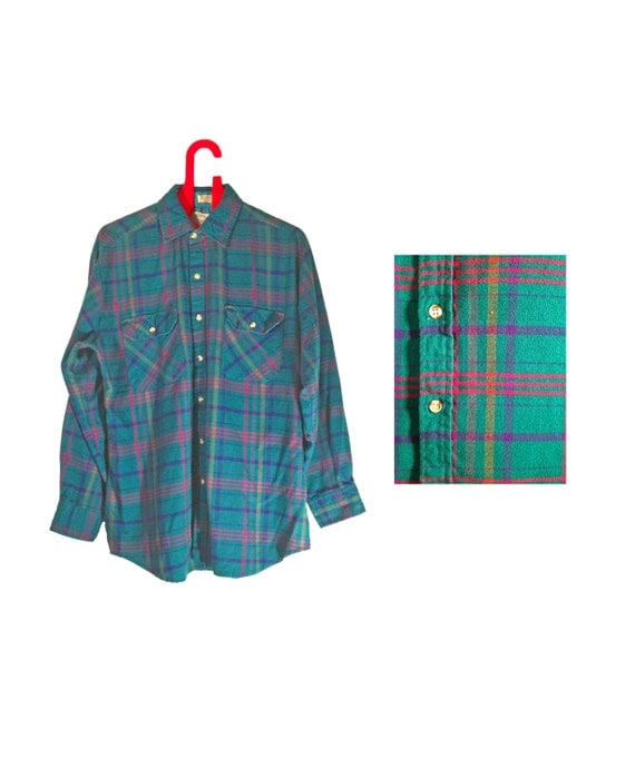 vintage plaid shirt retro shirt 80s shirt 90s by