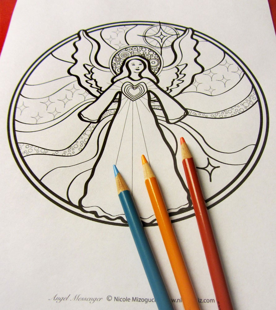 angel messenger mandala coloring page single page to print