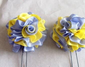 Hair Pins Periwinkle and Yellow Satin Ruffle Flower Women Teens Girls Wedding Bridal Bridesmaids Flowergirls