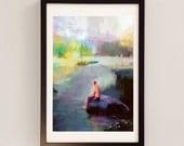 Lake Champlain Print / Mixed Media Wall Art - American Landscape Painting by D McConochie  - Lake Champlain, Purple Yellow Artwork