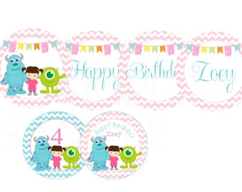 Girls or Boys Birthday Monsters Inc Personalized Birthday Banner -Printable File