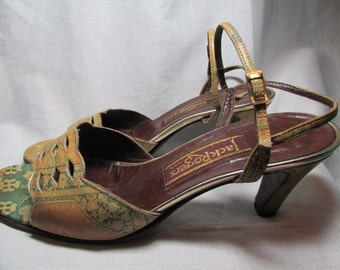 1960s JACK ROGERS PUMPS open toe ankle straps leather muted fall colors Heels Women's Shoes Sz 7.5 M Gs