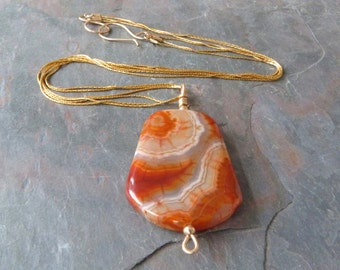 Colorful Wire Wrapped Banded Agate Pendant w Gold Chain & Clasp, Orange Necklace, Handmade Stone Pendant, Simple Pendant Necklace