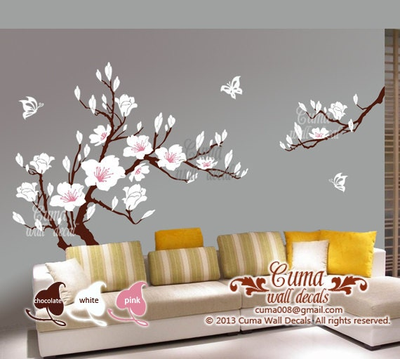 White flower wall decal s cherry blossom vinyl wall decals for Cherry blossom tree mural