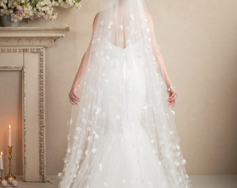 Cathedral Petal Wedding Veil, Bridal Hair Accessories Beaded Graduated Cascading Flowers of Organza on Tulle, Camilla Christine, PETAL VEIL